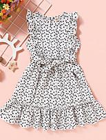 cheap -Kids Toddler Little Girls' Dress Polka Dot Graphic Sundress Print White Knee-length Sleeveless Active Dresses Summer Regular Fit 2-8 Years
