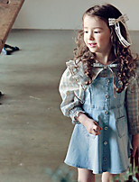 cheap -2021 spring strawberry shank supply korean children's clothing girls cotton fashion suspender denim dress in stock