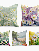 cheap -5 pcs Linen Pillow Cover, Floral&Plants Square Zipper Polyester Traditional Classic