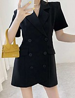 cheap -A-Line Little Black Dress Minimalist Homecoming Cocktail Party Dress Notch lapel collar Short Sleeve Short / Mini Stretch Fabric with Buttons 2021