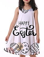 cheap -Kids Little Girls' Dress Letter Print White Knee-length Sleeveless Flower Active Dresses Summer Regular Fit 5-12 Years