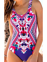 cheap -Women's One Piece Romper Swimsuit Push Up Print Color Block Geometric Red Swimwear Camisole Padded Bathing Suits New Casual Sexy