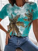 cheap -Women's T shirt Graphic Scenery 3D Print Round Neck Tops Basic Beach Basic Top Blue Yellow Green