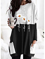 cheap -Women's T shirt Graphic Flower Long Sleeve Pocket Round Neck Tops Cotton Basic Basic Top Black Orange Khaki