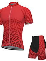 cheap -Men's Short Sleeve Cycling Jersey with Shorts Spandex Red Bike Breathable Quick Dry Sports Graphic Mountain Bike MTB Road Bike Cycling Clothing Apparel / Stretchy / Athletic / Athleisure