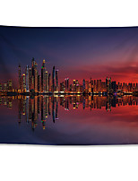 cheap -Wall Tapestry Art Decor Blanket Curtain Hanging Home Bedroom Living Room Decoration Polyester Dubai Marina Sunset City Night Scenery
