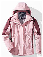 cheap -Women's Hiking Softshell Jacket Hiking 3-in-1 Jackets Winter Outdoor Patchwork Waterproof Windproof Warm Quick Dry Outerwear Jacket Top Full Length Visible Zipper Ski / Snowboard Fishing Climbing