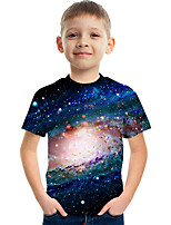 cheap -Kids Boys' Tee Short Sleeve Galaxy Graphic Children Tops Active Blue 3-12 Years