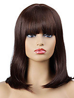 cheap -Synthetic Wig Curly Neat Bang Wig Short Brown / Burgundy Synthetic Hair Women's Party Fashion Comfy Brown