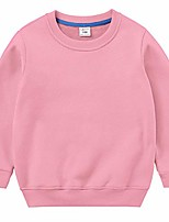 cheap -Kids Boys Girls Crewneck Sweatshirts Cotton Pullover T-Shirts Toddler Solid Color Fleeced Lined Long Sleeve Tops Pink 2T
