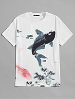 cheap -Men's Unisex T shirt Hot Stamping Carp Animal Plus Size Print Short Sleeve Casual Tops 100% Cotton Basic Casual Fashion White
