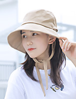 cheap -Women's Hiking Cap 1 PCS Outdoor Portable Sunscreen Breathable Soft Hat Solid Color Cotton Black Pink Khaki for Fishing Climbing Beach
