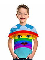 cheap -Kids Boys' T shirt Tee Short Sleeve Graphic 3D Rainbow Print Children Tops Active Light Blue