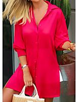 cheap -Women's Shirt Dress Maxi long Dress Black Red Long Sleeve Solid Color Color Block Summer Shirt Collar Casual 2021 S M L XL