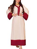 cheap -Women's Kaftan Dress Maxi long Dress White Long Sleeve Solid Color Color Block Patchwork Summer V Neck Casual 2021 S M L XL XXL