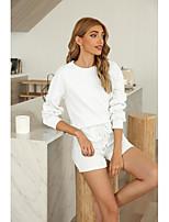 cheap -Women's Basic Streetwear Plain Daily Two Piece Set Tracksuit T shirt Loungewear Shorts Drawstring Tops