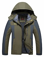 cheap -Men's Hiking Softshell Jacket Hiking Fleece Jacket Autumn / Fall Winter Spring Outdoor Patchwork Thermal Warm Quick Dry Lightweight Breathable Winter Jacket Top Hunting Fishing Climbing Black Red
