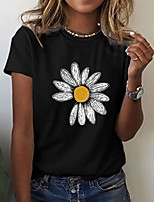 cheap -Women's T shirt Graphic Floral Print Round Neck Tops Basic Basic Top Black Blue Green