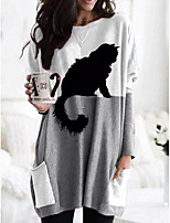 cheap -Women's T shirt Cartoon Graphic Animal Long Sleeve Pocket Round Neck Tops Basic Basic Top Black Orange Khaki