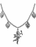 cheap -tiande angel cupid chain necklace steel stainless angel baby wing love heart bell clavicle choker necklace for women girls men boys