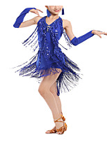 cheap -Latin Dance Dance Costumes Exotic Dancewear Dress Tassel Paillette Women's Girls' Performance Theme Party Elastane
