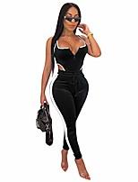cheap -women's sleeveless deep v sexy mesh bodycon jumpsuits rompers long pants daily nightclub bar partywear,black,s