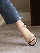 cheap -Women's Sandals Boho Bohemia Beach Flat Heel Round Toe PU Synthetics Almond Black Pink