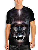 cheap -Men's Tees T shirt 3D Print Graphic Prints Orangutan Animal Print Short Sleeve Daily Tops Basic Casual Black