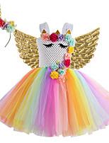 cheap -Kids Little Girls' Dress Flower Birthday Party Festival Layered Mesh Rainbow Knee-length Sleeveless Regular Sweet Dresses Children's Day Fall Spring & Summer Slim 2-12 Years