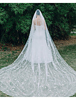 cheap -One-tier Lace Wedding Veil Chapel Veils with Solid / Paillette 137.8 in (350cm) Lace / Tulle