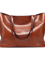 cheap -Women's Bags PU Leather Leather Tote Zipper Solid Color Daily Office & Career Tote Handbags Wine Black Dark Red Brown