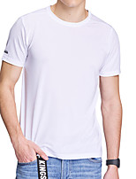 cheap -Men's T shirt Hiking Tee shirt Short Sleeve Crew Neck Tee Tshirt Top Outdoor Quick Dry Lightweight Breathable Soft Autumn / Fall Spring Summer Spandex Polyester Solid Color White Black Blue Fishing