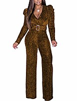 cheap -jumpsuits for women casual - sequin jumpsuits for women sexy sparkly jumpsuits clubwear v neck long sleeve elegant party rompers with belt gold