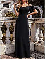 cheap -Women's A Line Dress Maxi long Dress Black Short Sleeve Solid Color Fall Winter Elegant Formal 2021 S M L XL