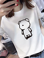 cheap -Women's Tee / T-shirt Pure Color Crew Neck Spandex Cartoon Sport Athleisure Top Short Sleeves Breathable Soft Comfortable Everyday Use Casual Daily Outdoor
