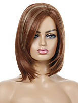 cheap -Synthetic Wig Straight Side Part Wig Short Brown / Burgundy Synthetic Hair Women's Party Fashion Comfy Brown