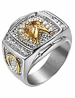 cheap -pamtier men's stainless steel vintage hip hop punk iced out pave cz horse ring silver size 10