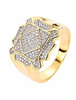 cheap -LKV 14K Gold Hiphop Ring for Men and Women, 5A Cubic Zirconia Stone Used for Ring (GOLD, 10)