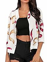 cheap -lovor womens newest zip up bomber jacket floral print 3/4 sleeve lightweight casual coat sunscreen beachwear(white,l)