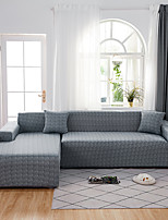 cheap -Sofa Cover Contracted Light Gray Print Dustproof Stretch Super Soft Fabric L Shape Sofa (You will Get 1 Throw Pillow Case as free Gift)