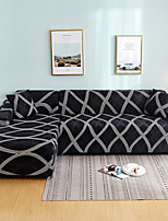 cheap -Gray Check Print Dustproof All-powerful Slipcovers Stretch L Shape Sofa Cover Super Soft Fabric Couch Cover with One Free Pillow Case