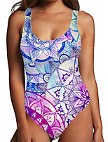 cheap -Women's One Piece Monokini Swimsuit Tummy Control Print Tribal Floral Blue Swimwear Bodysuit Strap Bathing Suits New Ethnic Fashion
