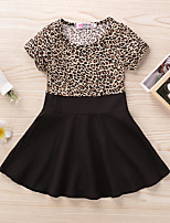 cheap -Kids Little Girls' Dress Leopard Print Black Long Sleeve Active Dresses Summer Regular Fit 2-6 Years