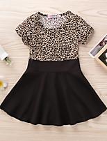 cheap -Kids Little Girls' Dress Leopard Print Black Long Sleeve Active Dresses Summer Regular Fit 2-6 Years