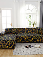 cheap -Black Geometric Print Dustproof All-powerful Slipcovers Stretch L Shape Sofa Cover Super Soft Fabric Couch Cover with One Free Pillow Case