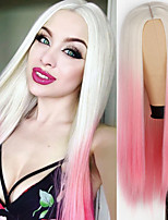 cheap -Synthetic Wig Curly Natural Straight Middle Part Wig Medium Length A1 A2 A3 A4 Synthetic Hair Women's Cosplay Party Fashion White Pink
