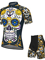 cheap -Men's Short Sleeve Cycling Jersey with Shorts Spandex Dark Navy Skull Bike Breathable Quick Dry Sports Graphic Mountain Bike MTB Road Bike Cycling Clothing Apparel / Stretchy / Athletic / Athleisure