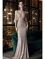 cheap -Mermaid / Trumpet Sparkle Elegant Engagement Formal Evening Dress V Neck Half Sleeve Floor Length Sequined with Sequin Tassel 2021