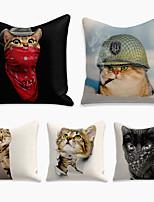 cheap -5 pcs Linen Pillow Cover, 3D Square Zipper Polyester Traditional Classic