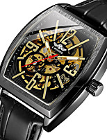 cheap -FORSINING Men's Mechanical Watch Analog Automatic self-winding Tonneau Classic Hollow Engraving / Genuine Leather
